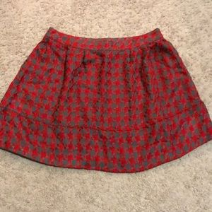 Red and gray mini skirt